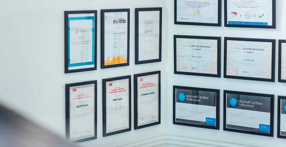 Our certificate wall
